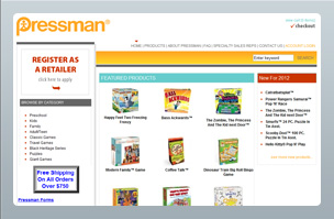 Web Design - Ecommerce - Pressman Toy Corporation